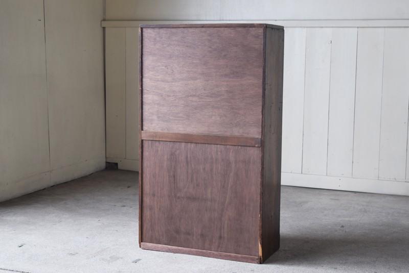 背面,アンティーク,食器棚,本棚,収納棚,本箱,ダイヤガラス,色硝子,引き出し,