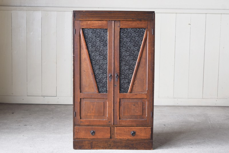 正面,アンティーク,食器棚,本棚,収納棚,本箱,ダイヤガラス,色硝子,引き出し,