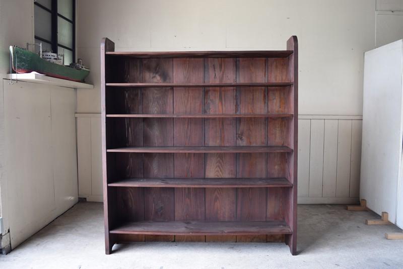 木製 収納 本棚,アンティーク 特大 厚みある無垢材 木味の陳列棚,什器,ショップディスプレイ