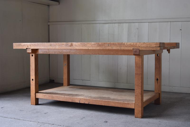 アンティーク 楢材 木工室の古い作業台テーブル①/ワークテーブル陳列台展示台棚什器 デスク