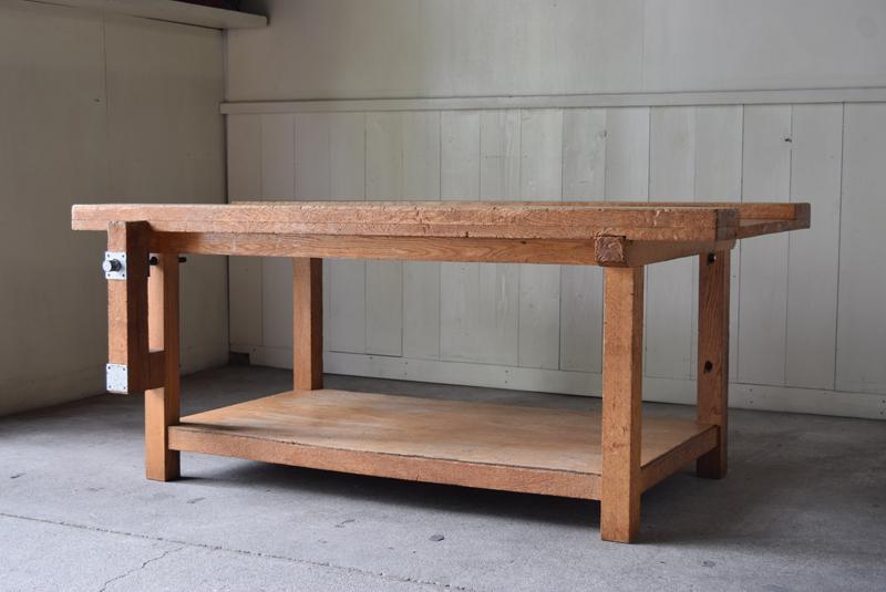 アンティーク 楢材 木工室の古い作業台テーブル②/ワークテーブル陳列台展示台棚什器 デスク