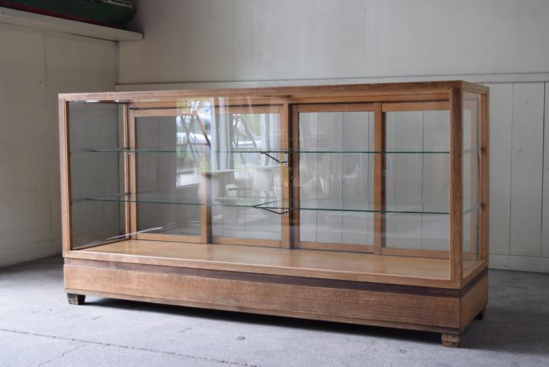 アンティーク特大ナラ材の5面ガラス陳列ガラスショーケース/収納 レジカウンター