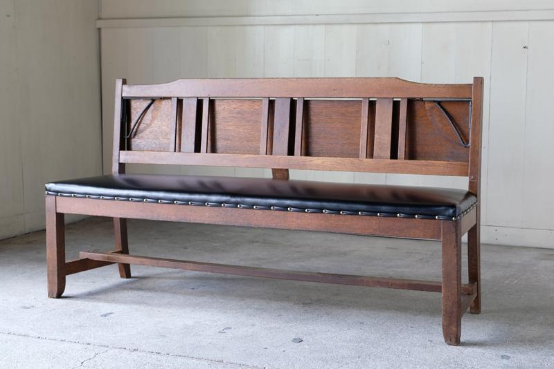 アンティーク 楢材 教会のベンチ ①