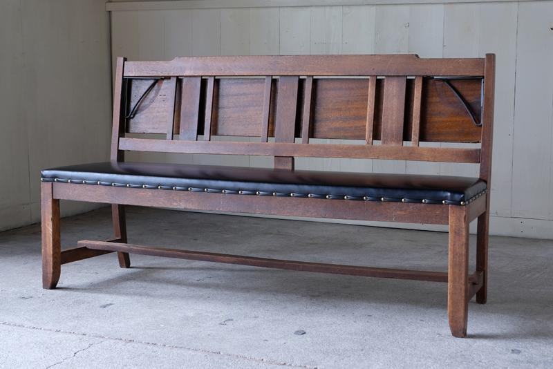 アンティーク 楢材 教会のベンチ ②